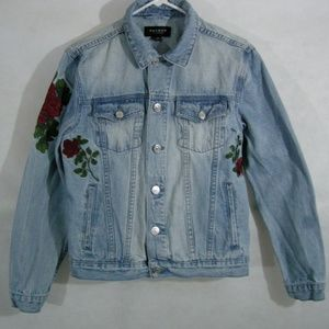 Denim Jacket Womens S Red Roses Pockets Buttons